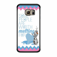 Olaf Quote Melting The Disney Frozen Pink Blue Chevron Samsung Galaxy S6 Edge Case