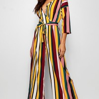 Kayla Multi Stripe Wrap Jumpsuit | Boohoo