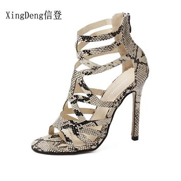 XingDeng Girls Gladiator Snake Pattern High Heels Sandals Shoes Womne Party Sexy Thin Heels Cross Strap Bandage Dress Shoes