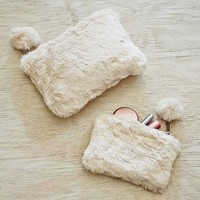 Fur Polar Bear Beauty Pouches, Set of 2