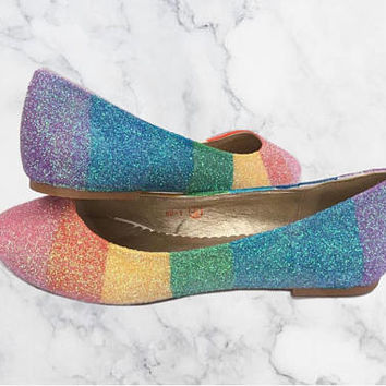 Pastel Rainbow Glitter Shoes - Glitter Pumps - Ballerina Flats - Customised Shoes - Bridal - Wedding - Bridesmaid - Prom - Party - UKSize3-8