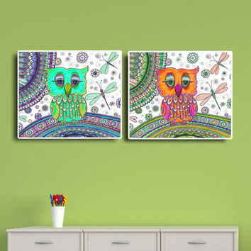 Instant Download Art Set of 2 Prints, Owls Dragonflies drawing, Kids Nursery room Folk art, Colored pencils Art, Bohemian wall decor