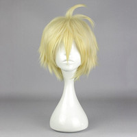 Straight Short Gold Cosplay Wig Synthetic Fiber of High-Temperature Resistant Anime Costume Hair