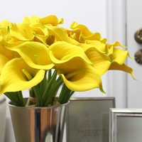 """Real Touch 9 Calla Lily Bouquet in Yellow 13"""" Tall"""
