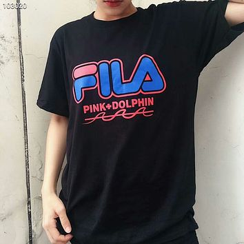 FILA x Pink Dolphin co-branded 2018 summer couple sports and leisure t-shirt F-AG-CLWM Black