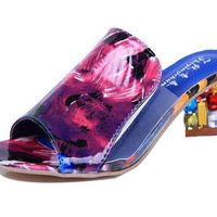 Transparent Beaded Color Match Crystal Slip On Square Heel Sandals Slippers