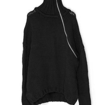 Oversized Knit Sweater with Zipper