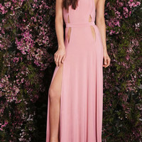 Pink Halter Cut Out Detail Backless Side Split Maxi Party Dress