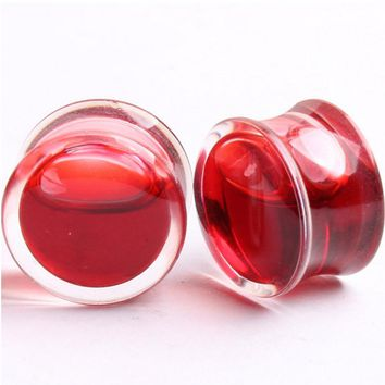 1 Pair of Blood Red Ear Plugs Size 8-25mm Double Flare Bone Ear Ring Gauges Expander Saddle Flesh Stretchers Piercing C570
