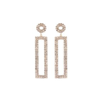 Rhinestone Crystals Rectangle Drop Earrings