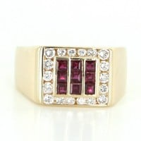 Vintage Mens Ruby Diamond 18 Karat Gold Dress Ring Estate Fine Jewelry 10.75 10 3/4