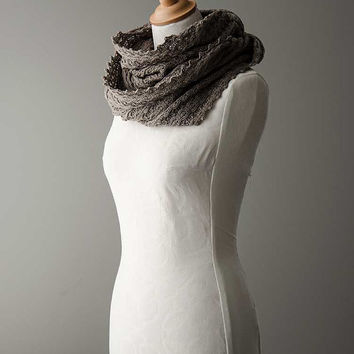 Knitted cowl, merino wool möbius scarf, wool cowl, snood, knitted wrap in brown colour  'Tuck'