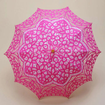 Hot Pink Lace Umbrella, Lace Parasol, Floral Bridal Umbrella, Wedding Party Decor Photography Props, Bridal Shower Parasol Umbrella HS13A-7