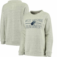 Women's Pressbox Cream West Virginia Mountaineers Comfy Terry Crew Sweatshirt