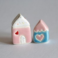 Little Clay House Set Pink Blue White Miniature Pottery Cottage | Luulla