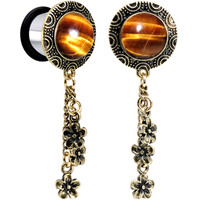 "1/2"" Tiger Eye Stainless Steel Flower Dangle Single Flare Plug Set 