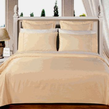 Ivory Solid Down Alternative 4-pc Comforter Set 100% Egyptian cotton 550TC