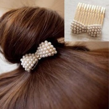 Accessory Pearls Butterfly Hair Accessories Brush [6044711937]