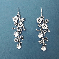 Cherry blossom, Sterling silver, Ear, Hook, Silver, Earrings, Birthday, Best friends, Sister, Gift, Jewelry