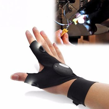 Night Fishing Glove with LED Light Rescue Tools Outdoor Gear Waterproof With adhesive strap cotton material sport Outdoor