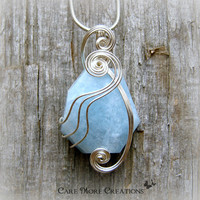 Aquamarine Wire Wrapped Pendant Necklace in Silver - March Birthstone