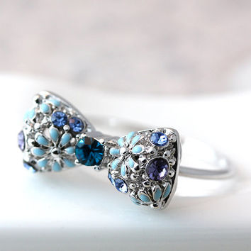 Floral Ribbon Bow Ring Flower Crystal Ring Gold Silver Plated Jewelry gift idea 6US size Gift Idea