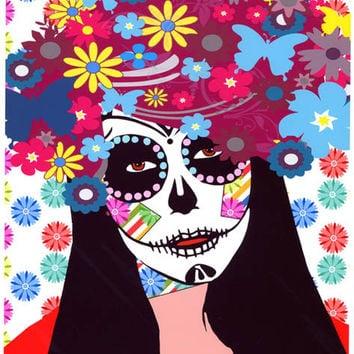 skull flower girl Day Of The Dead original art abstract pop art skulls skeleton art Dia de los muetos original digital painting flower skull
