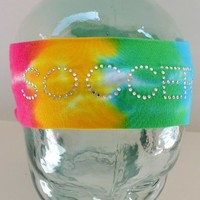 SOCCER Rhinestone Cotton Stretch Headband (Rainbow Tie Dye)
