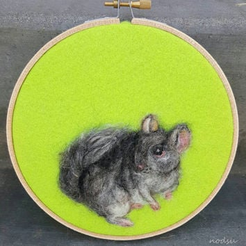 Chinchilla painting, made with wool, needle felted, realistic chinchilla, 6 inch hooop, neon green, wall art, ready to hang, cute animals