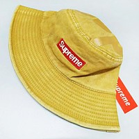 Supreme New fashion embroidery letter couple fisherman's hat cap Yellow