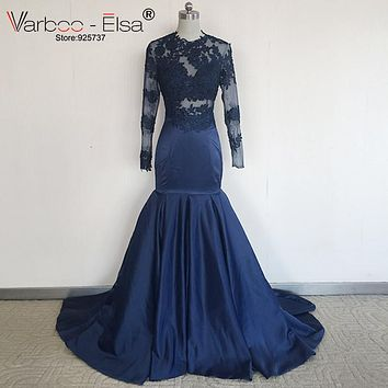 O-neck Lace prom dress mermaid dress Long Sleeve Prom Dresses 2017 See Through Appliqued Sexy  Royal Blue African Prom Dress
