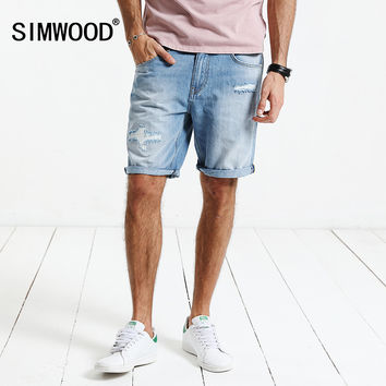 Summer New Denim Shorts Men Slim Fit Knee Length Jeans Ripped Clothing