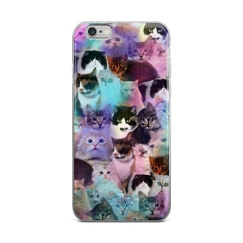 Cats Collage Cute Teen Girly Girls Purple & Pink iPhone 4 4s 5 5s 5C 6 6s 6 Plus 6s Plus 7 & 7 Plus Case