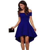 Summer Off the Shoulder  Short Sleeves Knee-length A-Line dress Vestidos