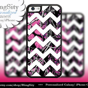 Camo Chevron iPhone 5C 6 6 Plus Case Hot Pink Purple Monogram iPhone 5s iPhone 4 Real Tree Personalized Country Inspired Girl