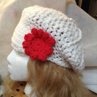 L        Slouchy , Newsboy Crocheted Women and teens hat ! snowball white fun for a snowball fight!
