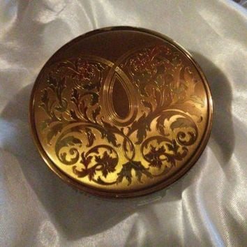 VINTAGE AMERICAN BEAUTY VANITY GLASS POWDER PUFF HOLDER BOX ORNATE **RARE**