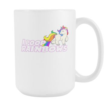 I Poop Rainbows Coffee Mug, 15 Ounce