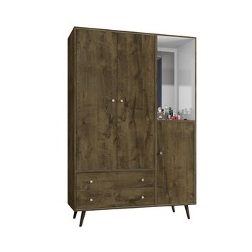 "47.83"" Mid Century- Modern Armoire w/ Mirror, 4 Shelves, 2 Draweres & Hanging Rod-Rustic Brown"