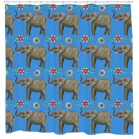 Boho Floral Elephant Bathroom Fun Shower Curtain