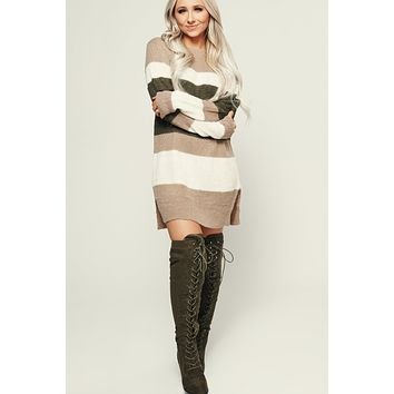Tiptop Color Block Tunic (Taupe/Olive)