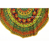 Round Roundie Indian Elephant Mandala Round Tapestry Bohemian Beach Throw Home Decor India Handmade Elephant Round Tapestries - Future Handmade