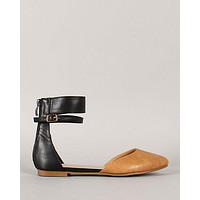Toffee Ankle Cuff Flats