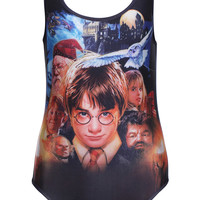 ROMWE Harry Potter Print Swimsuit