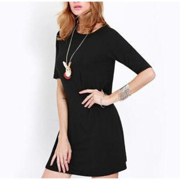 Plus Size Long Sleeve One Piece Dress [6339087553]