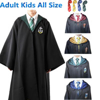 Harry Potter Cosplay Costumes Cloak Cape Gryffindor/Slytherin/Hufflepuff/Ravenclaw Robe&Tie Adult Kids