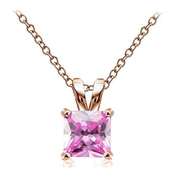Rose Gold Tone on Silver 4ct Pink Cubic Zirconia 9mm Square Solitaire Necklace