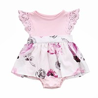 Family Matching Outfits Cute Toddler Kids Girl Newborn Baby Sisters Lace Floral Ruffles Sun-suit Outfit Sundress Clothes