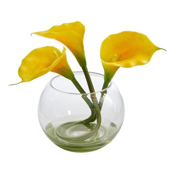 Silk Flowers -9 Inch Yellow Alla Lily Arrangement In Rounded Glass Vase