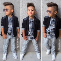 Random Clothes Boy Sets Gentleman Costume Toddlers Boys Clothes Set 3 pcs.Coat+Long Sleeve+Pants Children Boy Clothes set XT-213